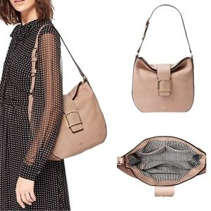 Kate Spade Pebbled Leather Healy Lane Lawrie Buckle Shoulder Bag Toasted Wheat